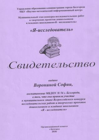 Грамота Воронина Софья 001